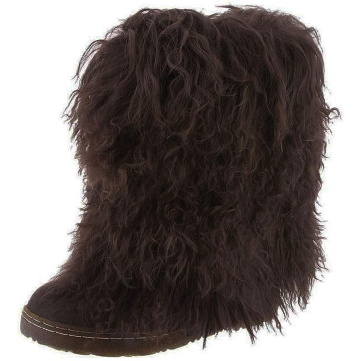 30034dca81fdc Details about Bearpaw Womens Boetis II Brown Fur Mid-Calf Boots Shoes 8  Medium (B,M) BHFO 3914