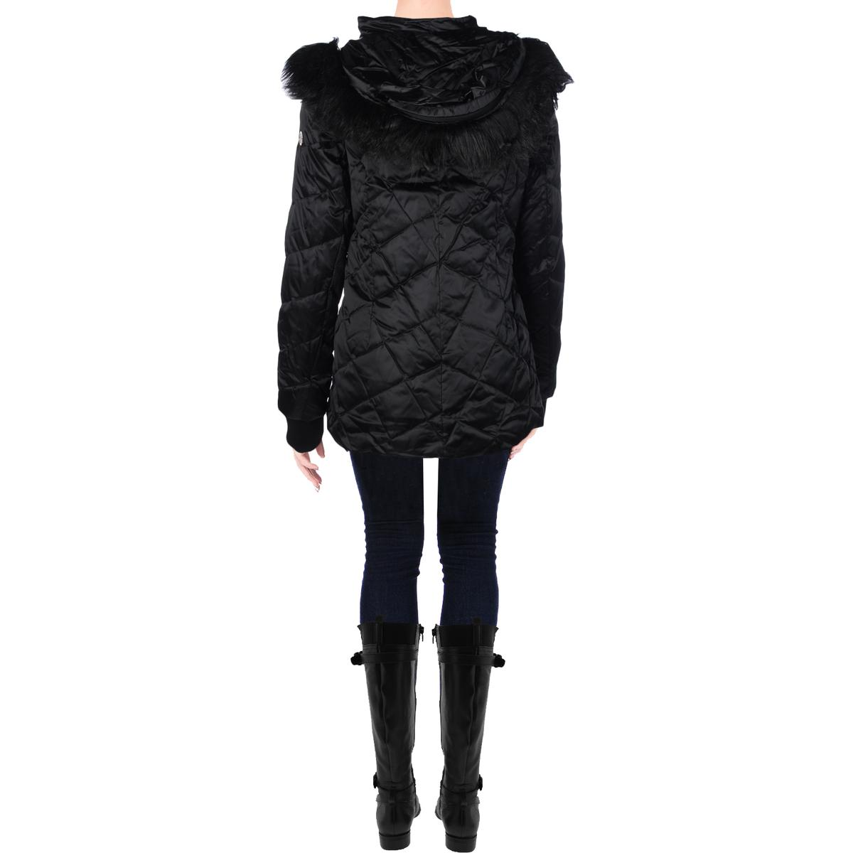 Steven By Steve Madden 4500 Womens Quilted Faux Fur Down