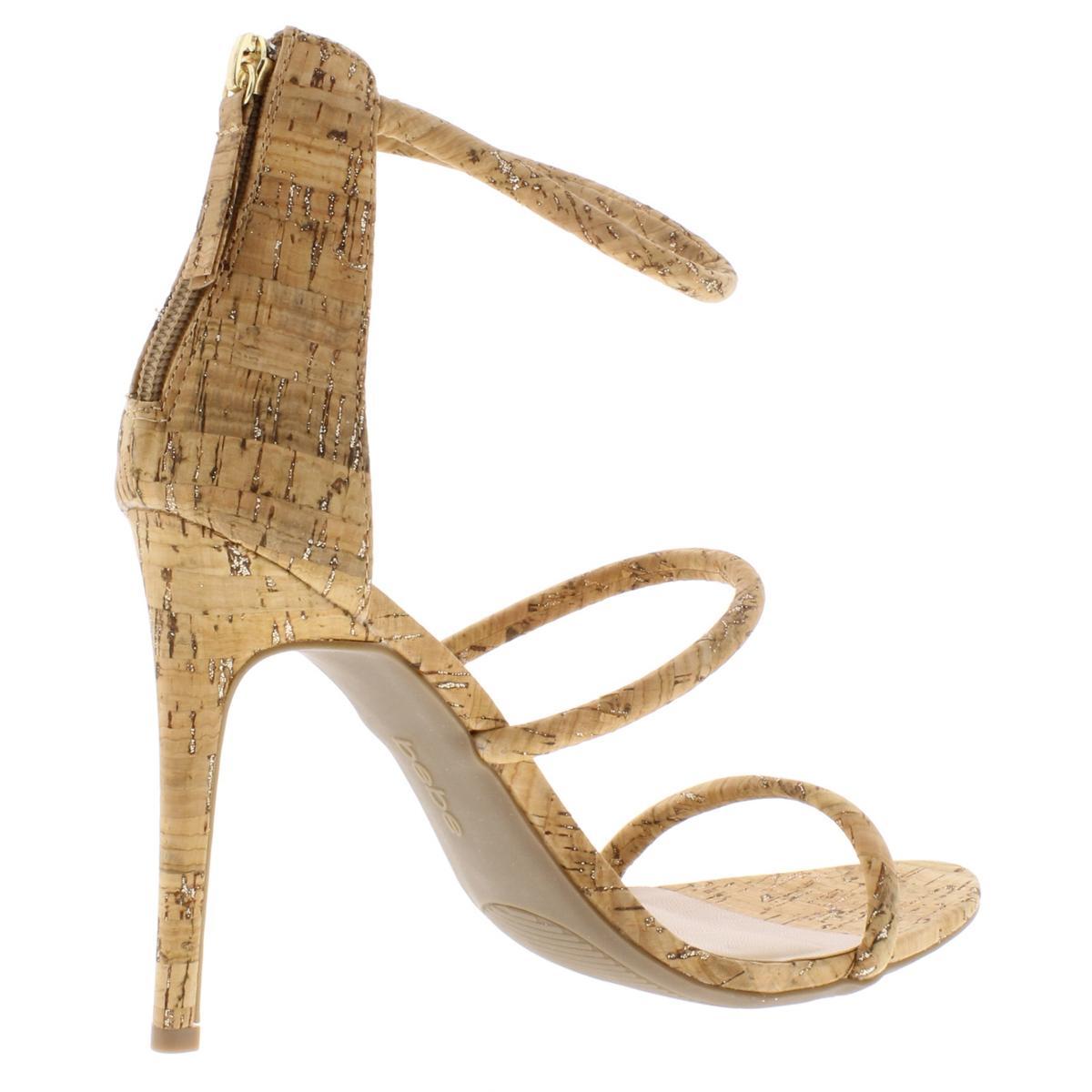 Bebe-Womens-Berdine-Strappy-Textured-Ankle-Strap-Dress-Sandals-Heels-BHFO-6118 thumbnail 6