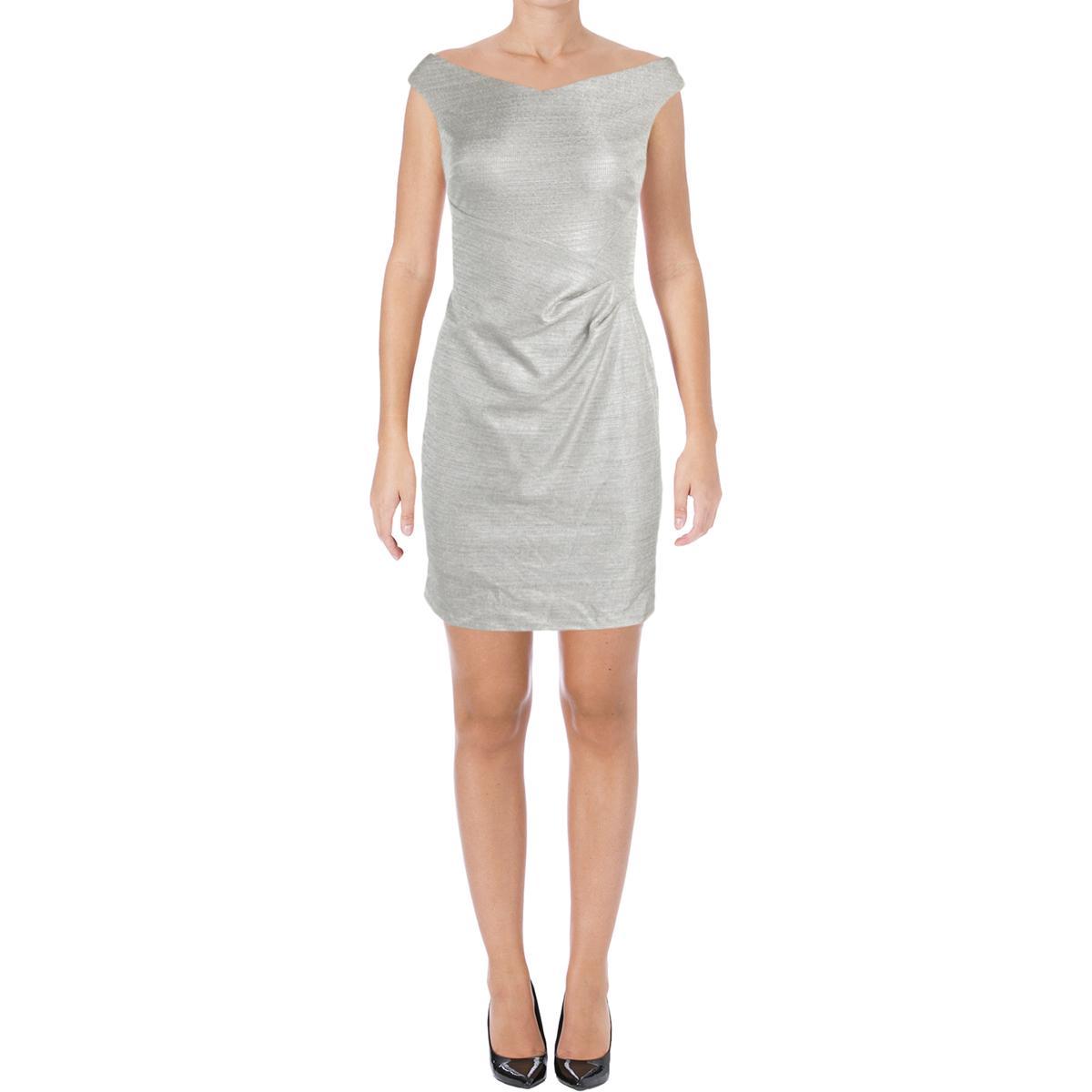 Lauren Ralph Lauren 3290 Womens Metallic Sleeveless Sheath Cocktail ...