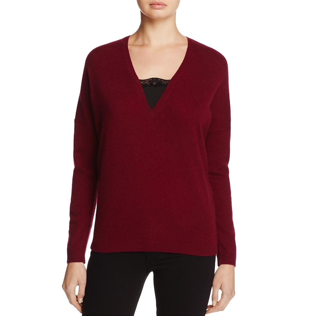Private Label Womens Red Cashmere Lace Trim Pullover Sweater XS BHFO ... d3b6757be