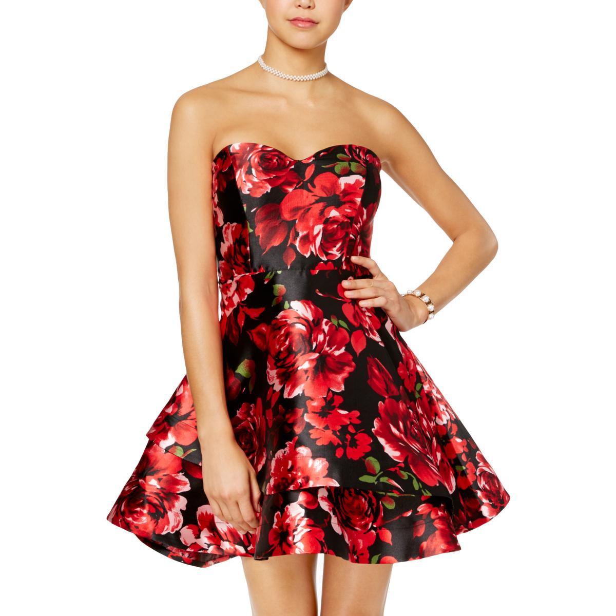 2c39560e2 Details about B. Darlin Womens Black Floral Print Strapless Mini Dress  Juniors 7/8 BHFO 7435