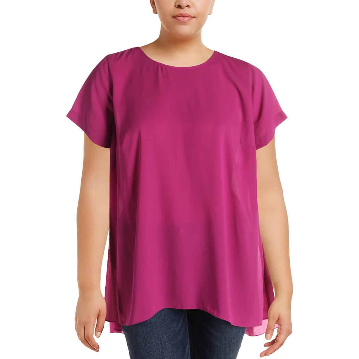 e834c948a4b85d Details about Vince Camuto Womens Hi-Low Sheer Short Sleeves Casual Top  Shirt Plus BHFO 6558