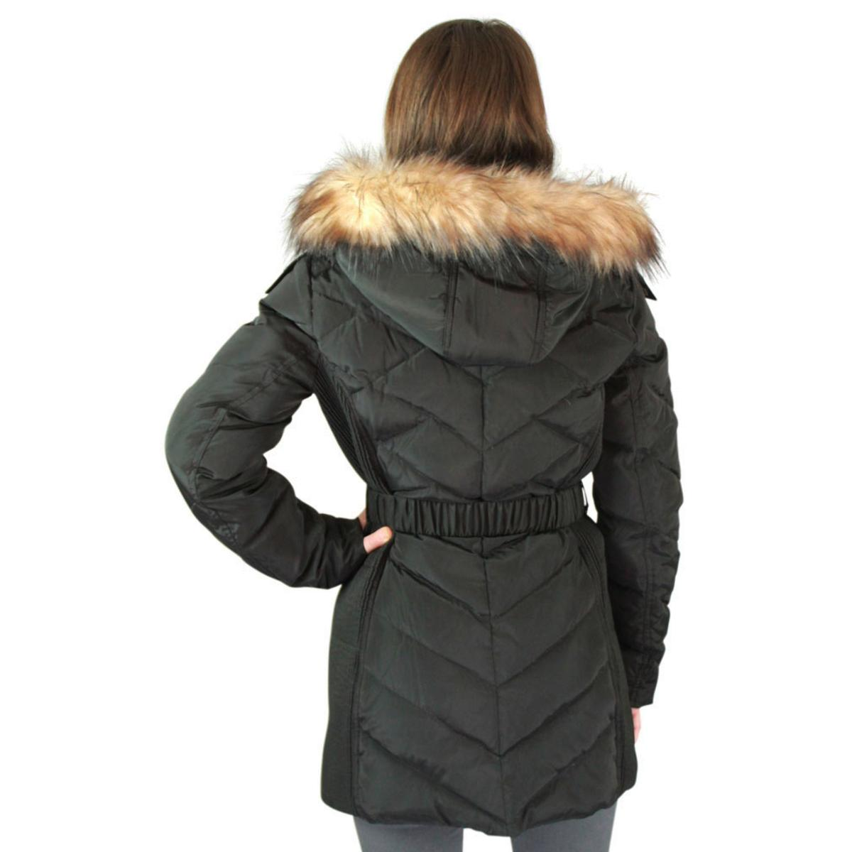 Jessica Simpson Quilted Down Women S Belted Long Hooded