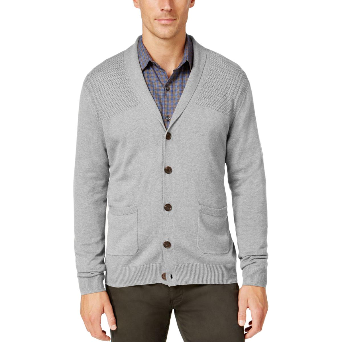 Tasso Elba 2328 Mens Ribbed Trim Button-Down Front Cardigan ...
