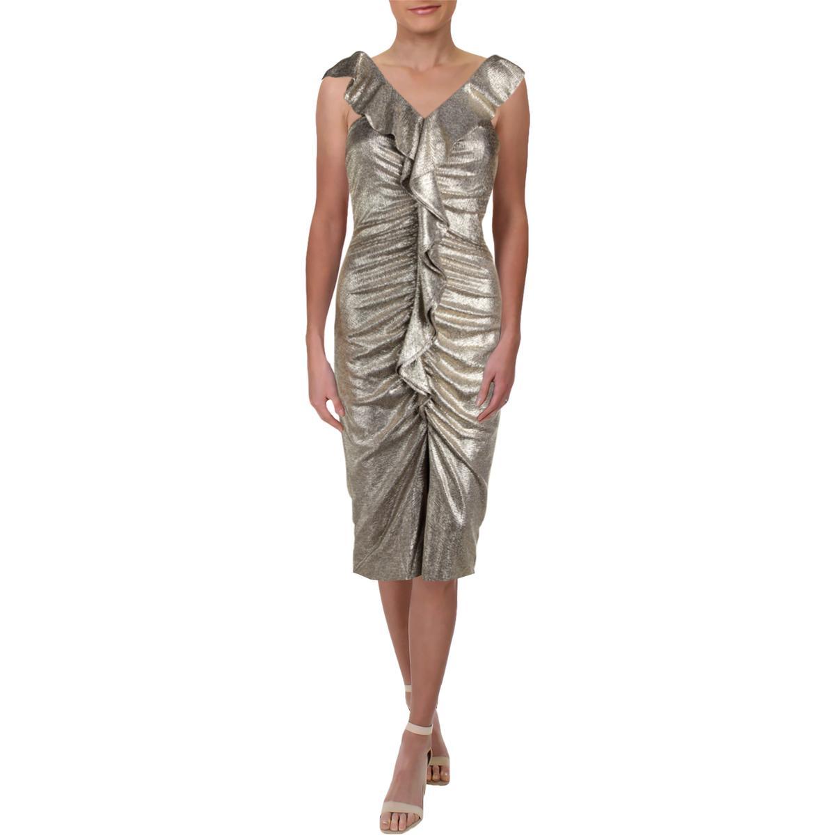 708d5110 Details about Gianni Bini Womens Jody Metallic Midi Party Cocktail Dress  BHFO 5826