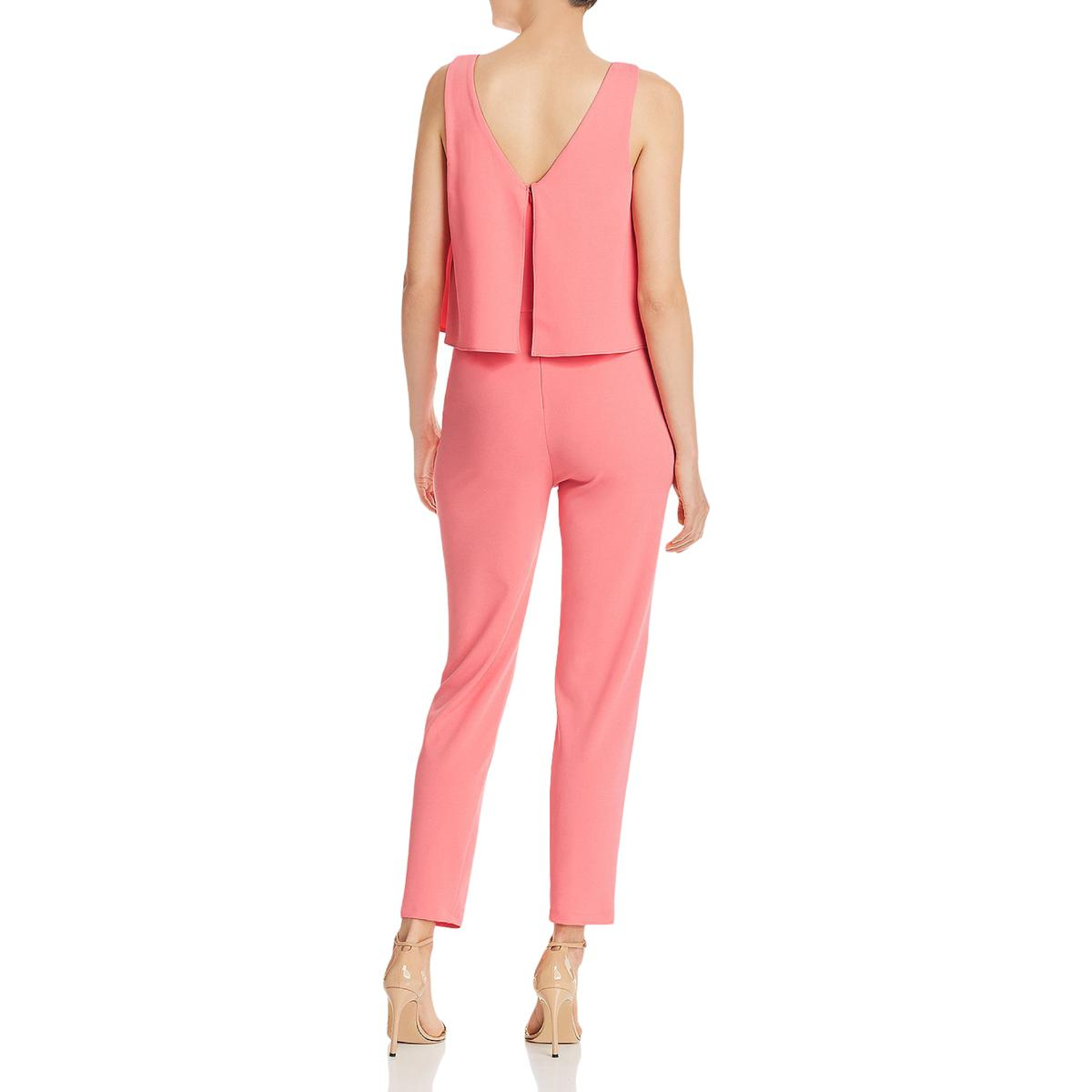 miniatuur 4 - Aqua Womens Cora Popover Straight Leg Dressy Jumpsuit BHFO 7046