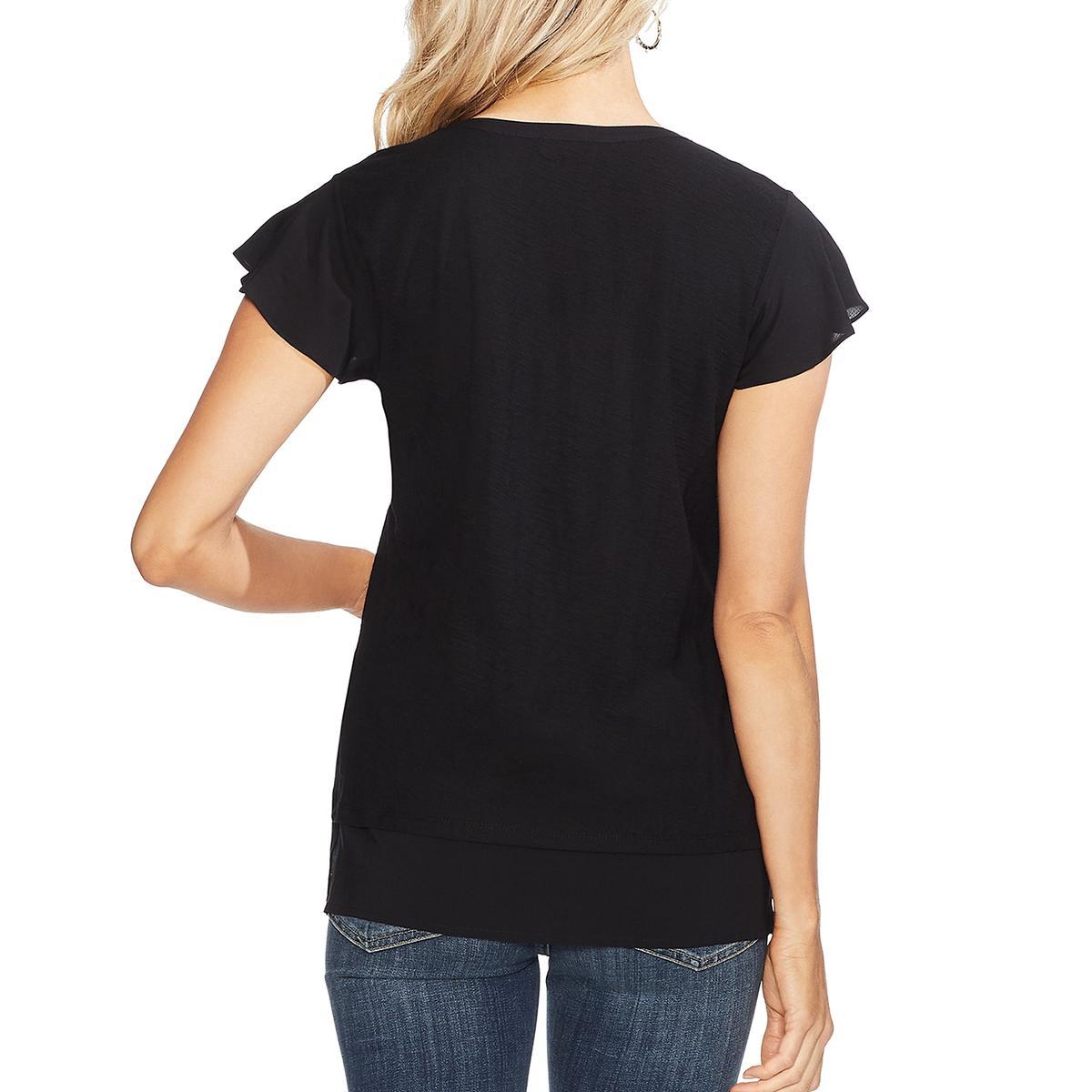 Vince Camuto Womens Cotton Slub Flutter Sleeves T-Shirt Top BHFO 7444