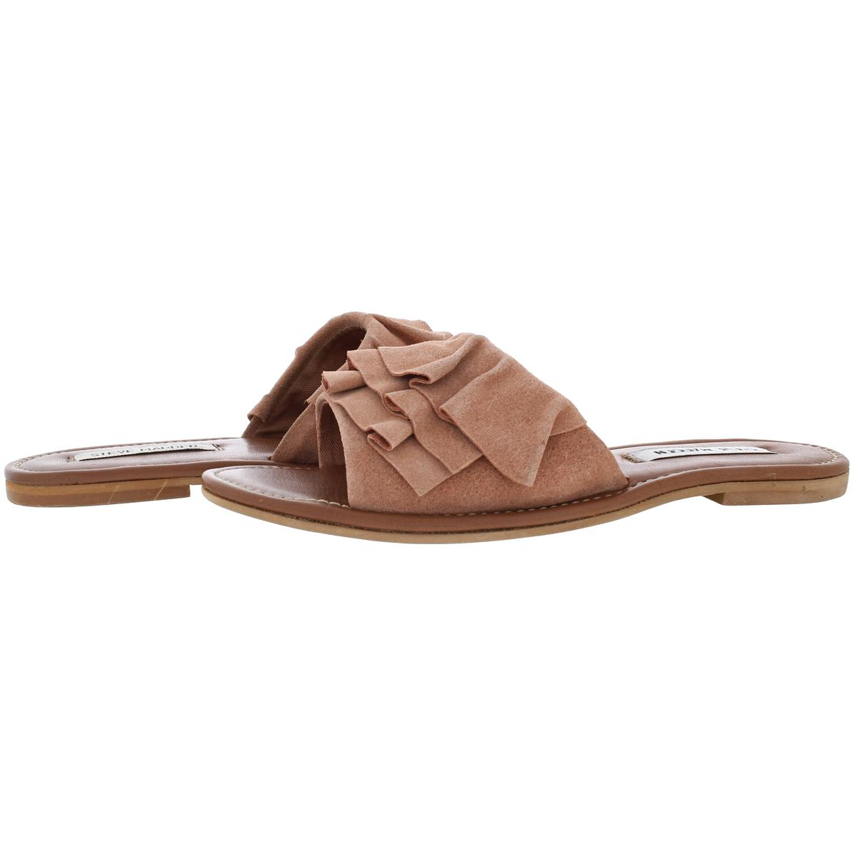 524842cdda6 Details about Steve Madden Women's Getdown Suede Slip On Ruffled Flat Sandal