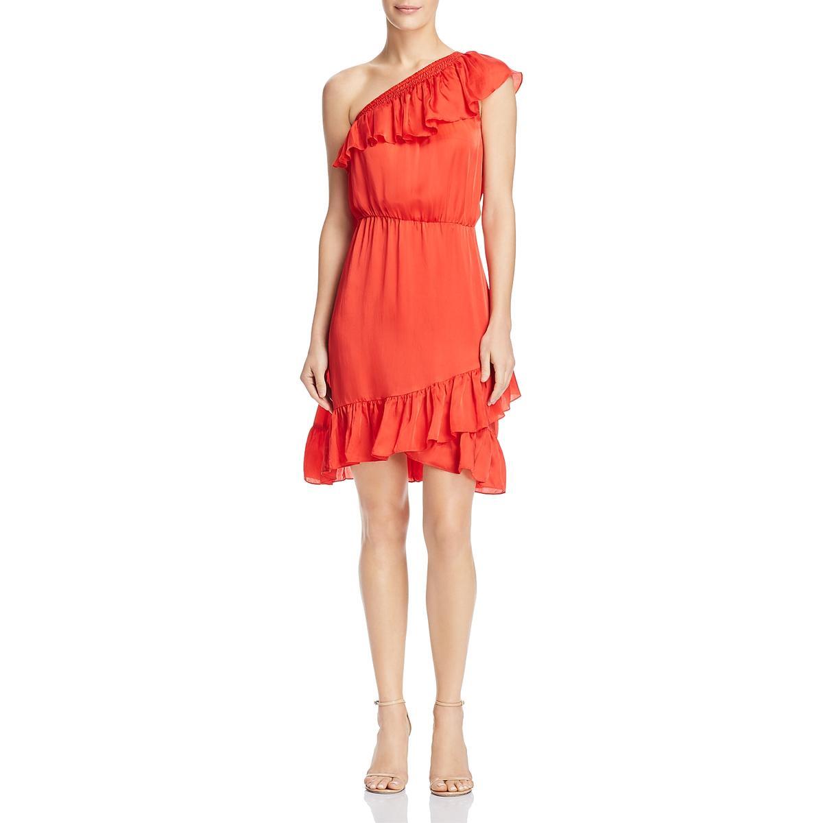 Aqua Womens Ruffled Cold Shoulder Knee-Length Cocktail Dress BHFO 8945