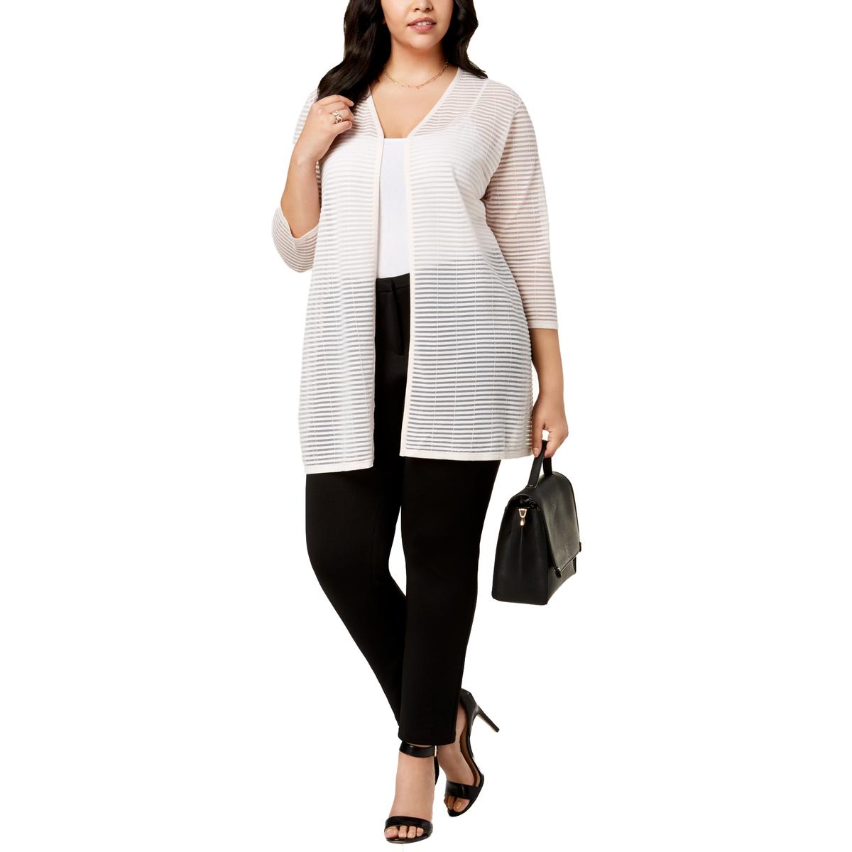 Details about Alfani Womens Sheer Striped Open Front Cardigan Top Jacket Plus BHFO 4407