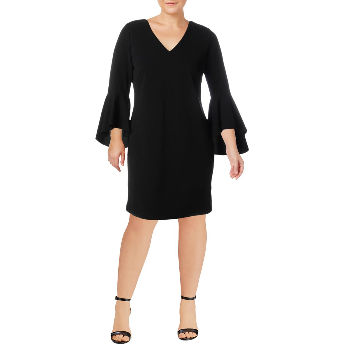 610cbdb767 Details about MSK Womens Black Bell Sleeves V-Neck Party Cocktail Dress 14  BHFO 0462
