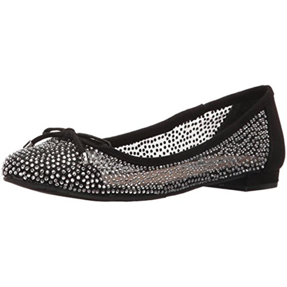 Nina Womens Wynne Black Rhinestones Ballet Flats Shoes 7 Medium (BM) BHFO 0865
