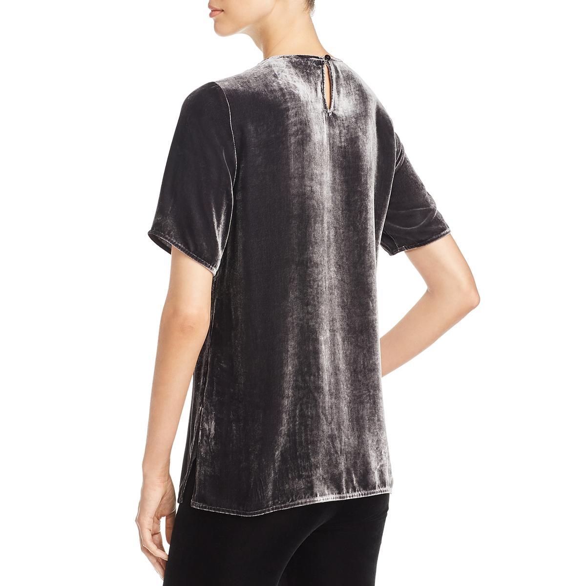 Eileen-Fisher-Womens-Velvet-Short-Sleeve-Pullover-Blouse-Top-BHFO-5939 thumbnail 4