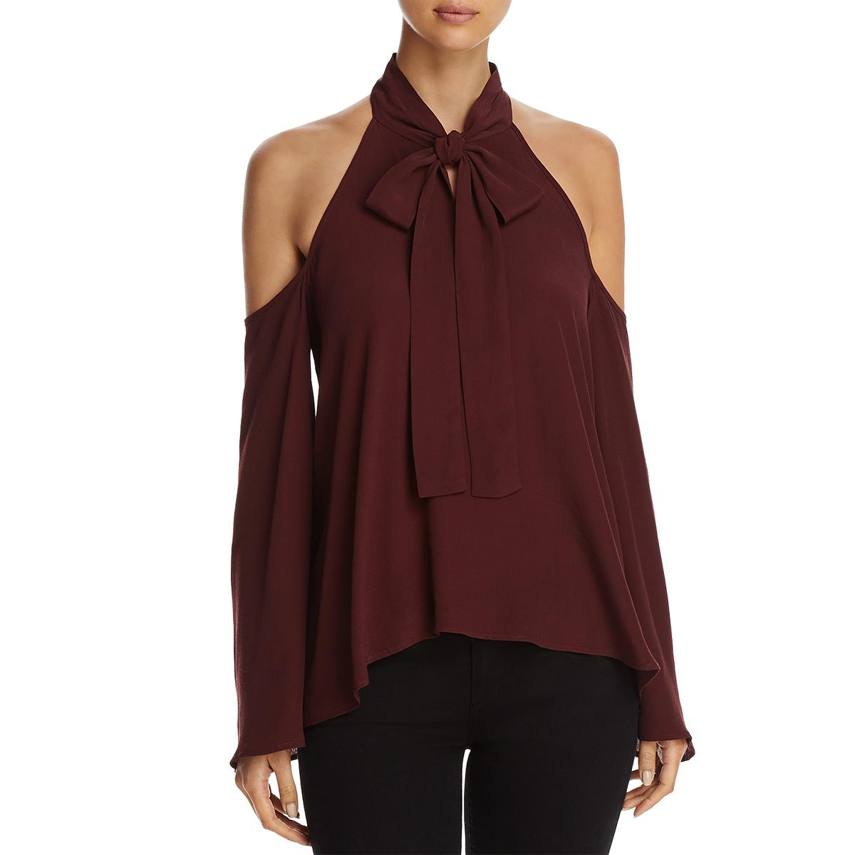 c9747758960382 Elan USA Womens Purple Cold Shoulder High-low Night out Blouse Top M ...