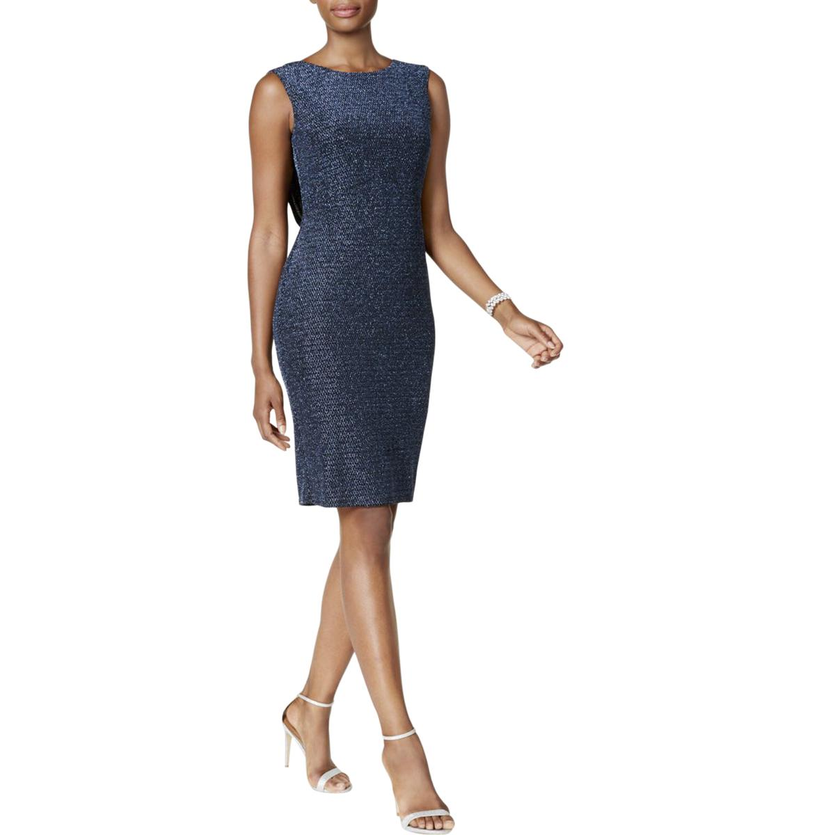 65985ac2918f0 Jessica Howard Womens Blue Metallic Sleeveless Cocktail Dress 12 ...