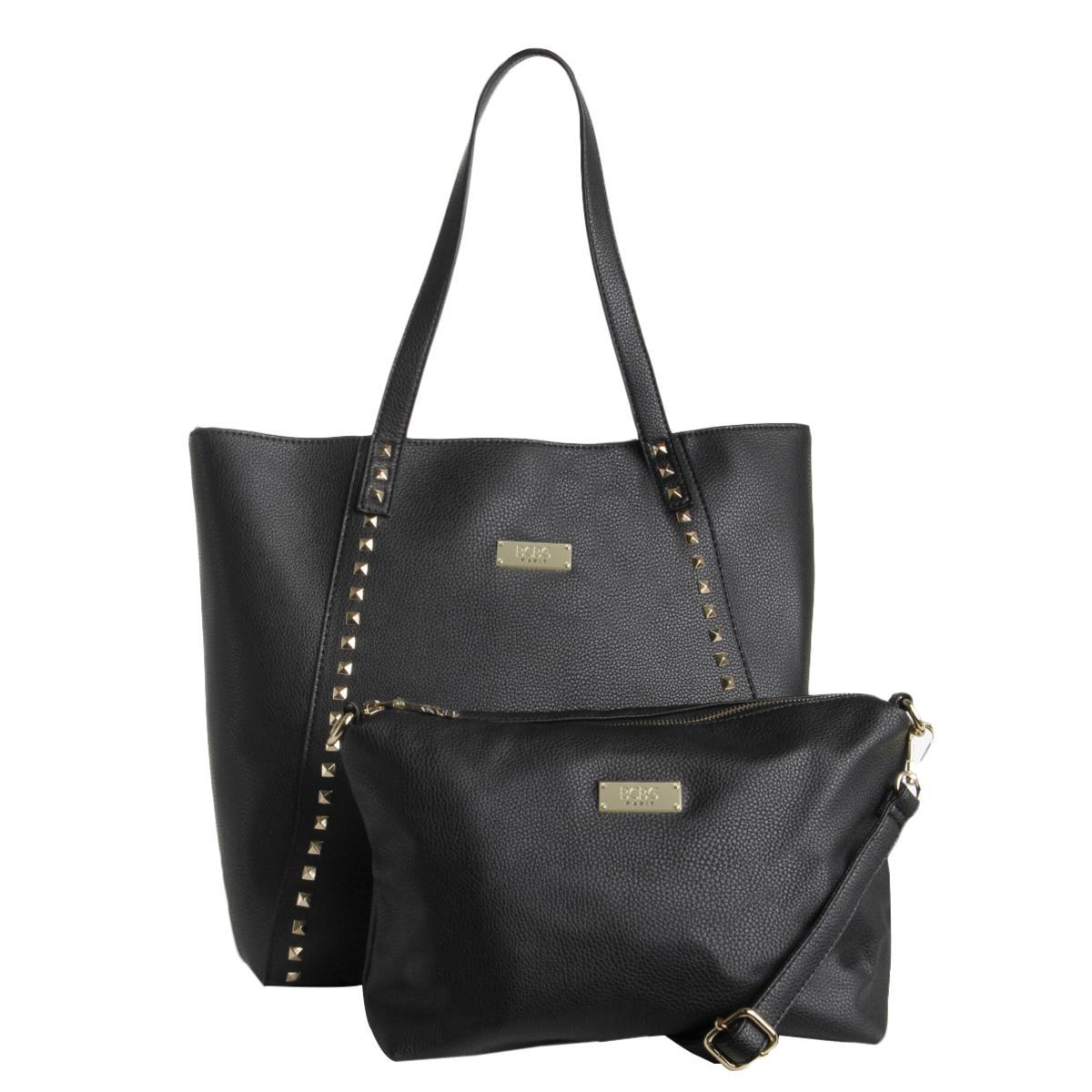 486cb8230382 Details about BCBG Paris Womens Black Faux Leather Studded Tote Handbag  Purse Large BHFO 2623
