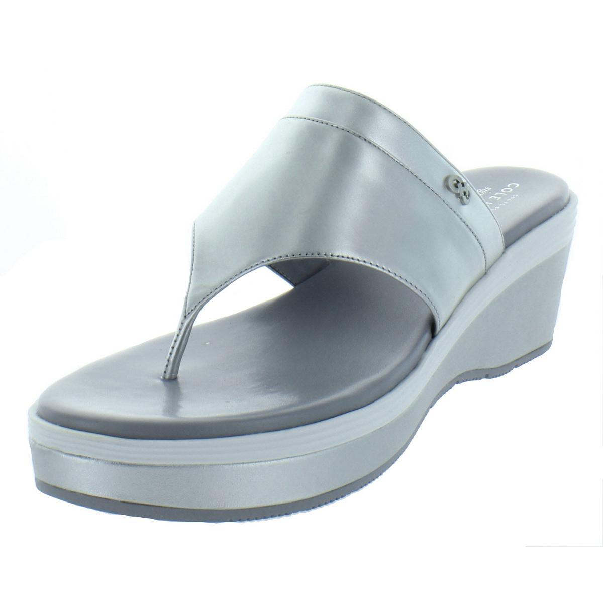 a168afa6d Details about Cole Haan Womens Cecily Grand Silver Thong Sandals 9.5 Medium  (B,M) BHFO 6362