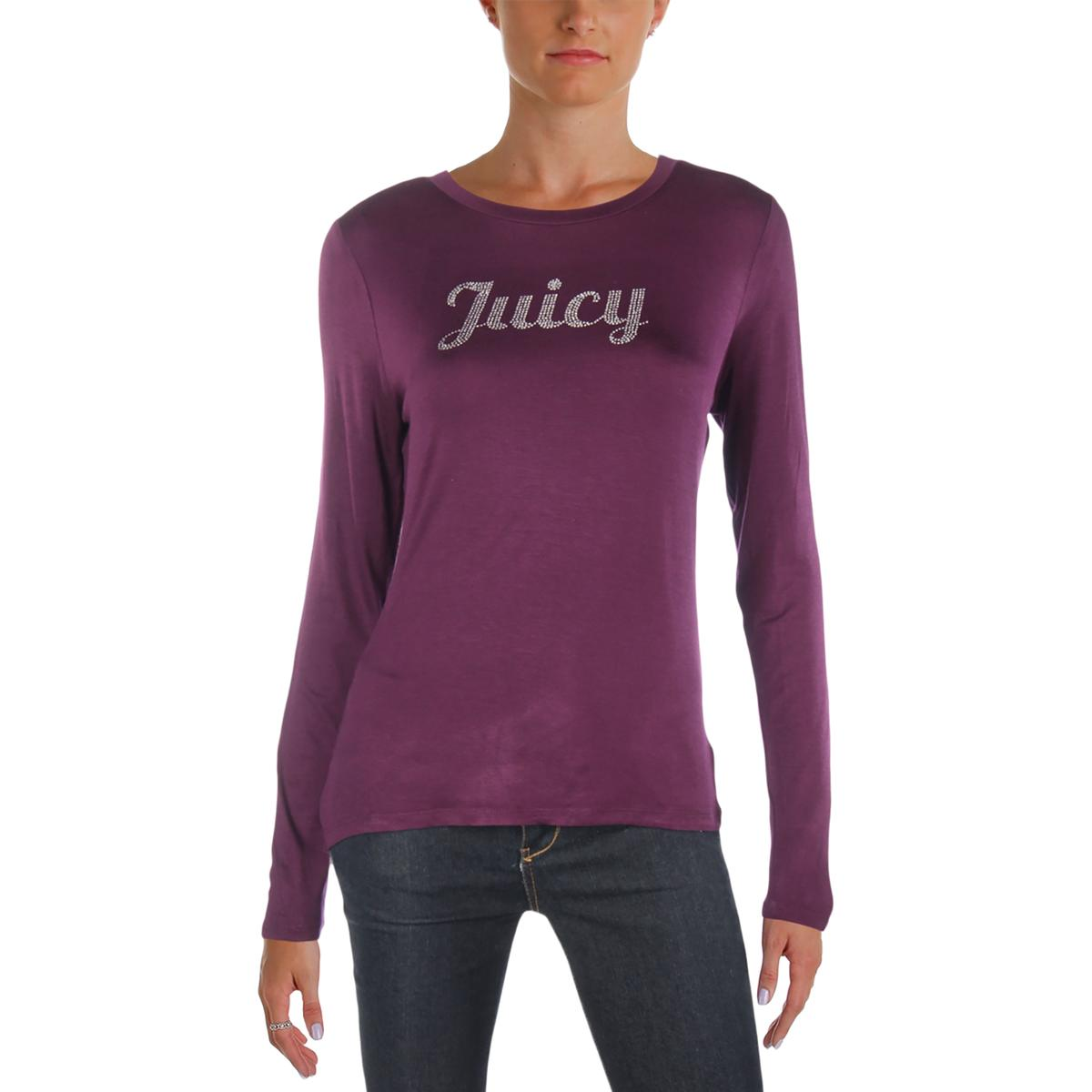 8cd49ed5017c Image is loading Juicy-Couture-Womens-Rhinestone-Logo-Long-Sleeves-Pullover-