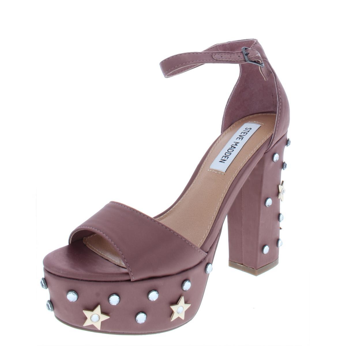 df64e984e9d Details about Steve Madden Womens Jazz Satin Studded Block Platform Heels  Shoes BHFO 3040