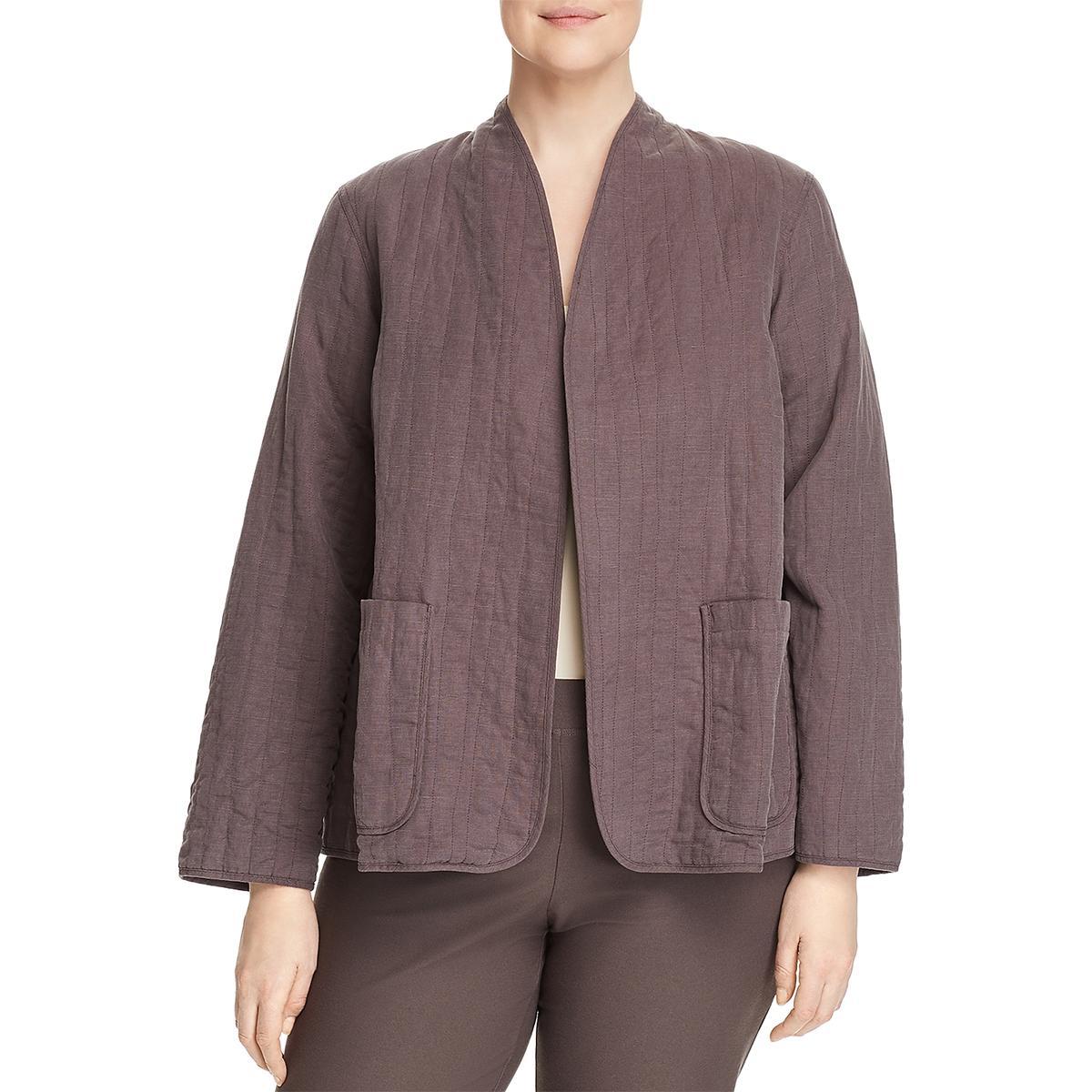 a69bc447078 Eileen Fisher Womens High Collar Open Front Jacket Blazer Plus BHFO ...