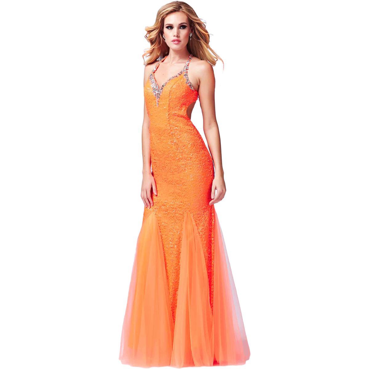 Cassandra Stone by Mac Duggal 8142 Womens Orange Prom Formal Dress ...