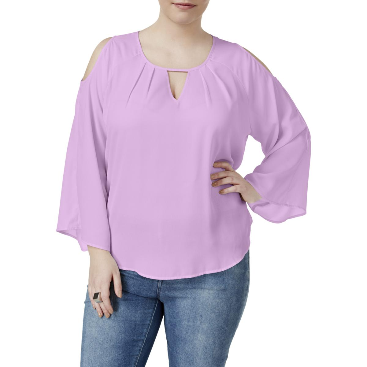 d39b47c6533e1 ... Peekaboo Cold Shoulder Blouse Violet Tulip 3x. About this product.  Picture 1 of 2  Picture 2 of 2