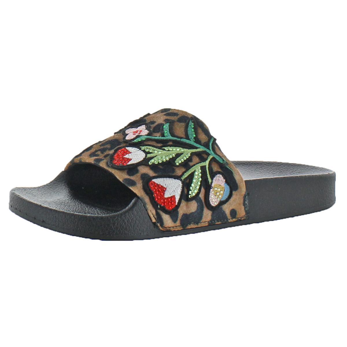 93b435aba28 Details about Steve Madden Patches Women s Velvet Leopard Embellished Slide  Sandals Shoes
