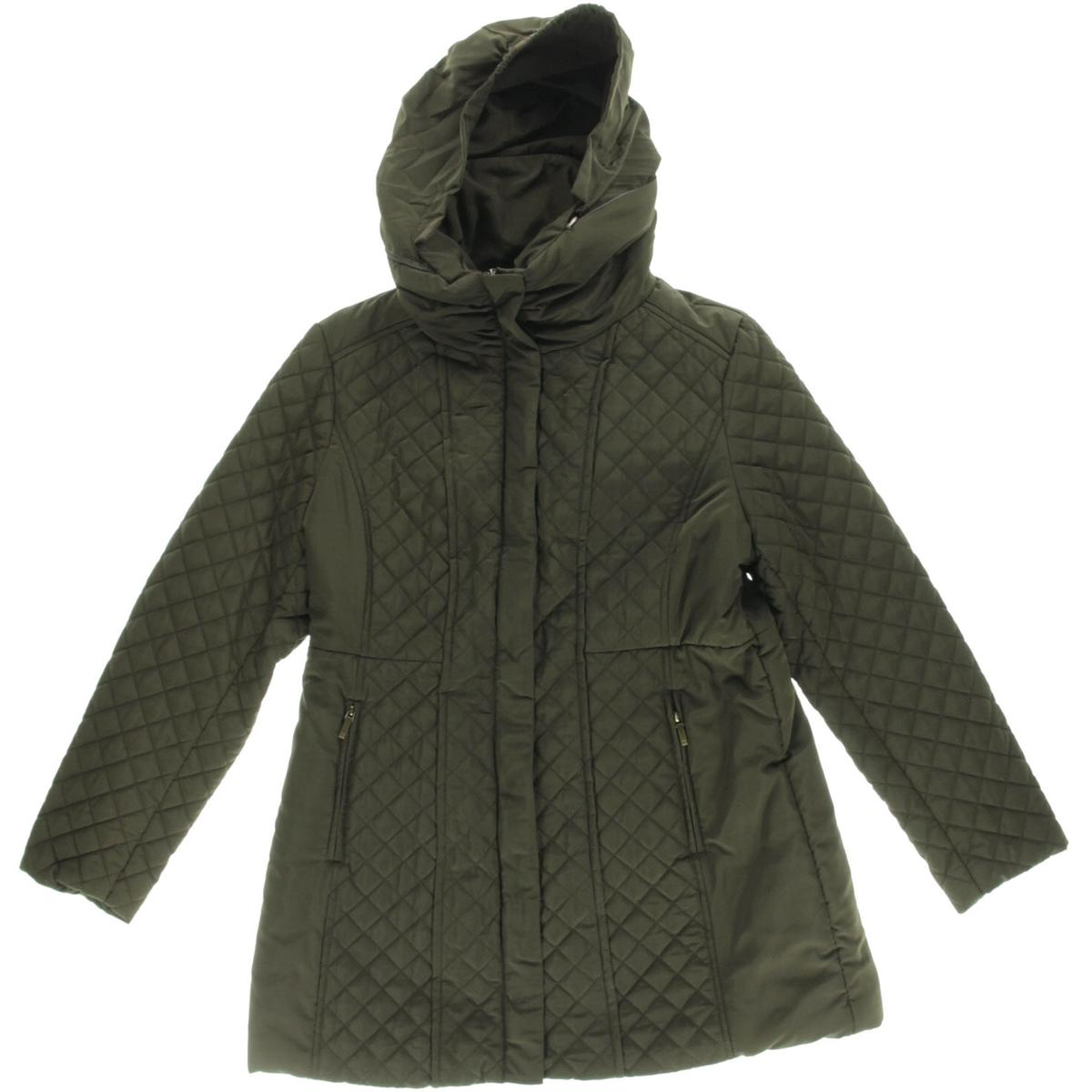 Jones New York 8513 Womens Green Quilted Hooded Outerwear