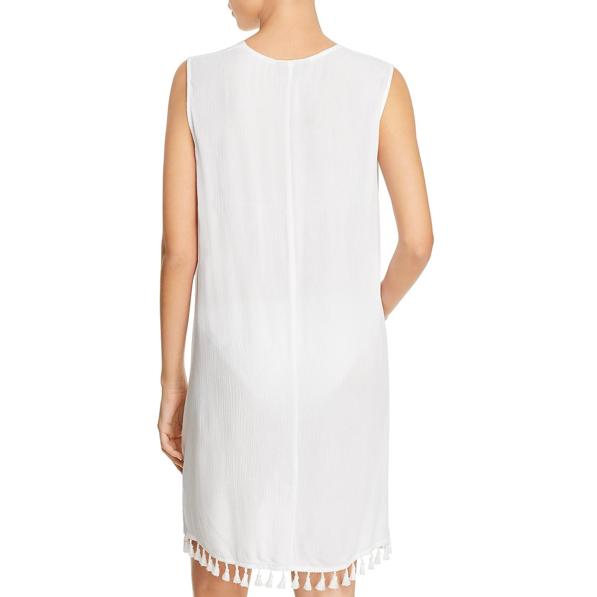 Athena Womens White Sheer Tassle Sleeveless Wrap Swim Cover-Up S BHFO 1884