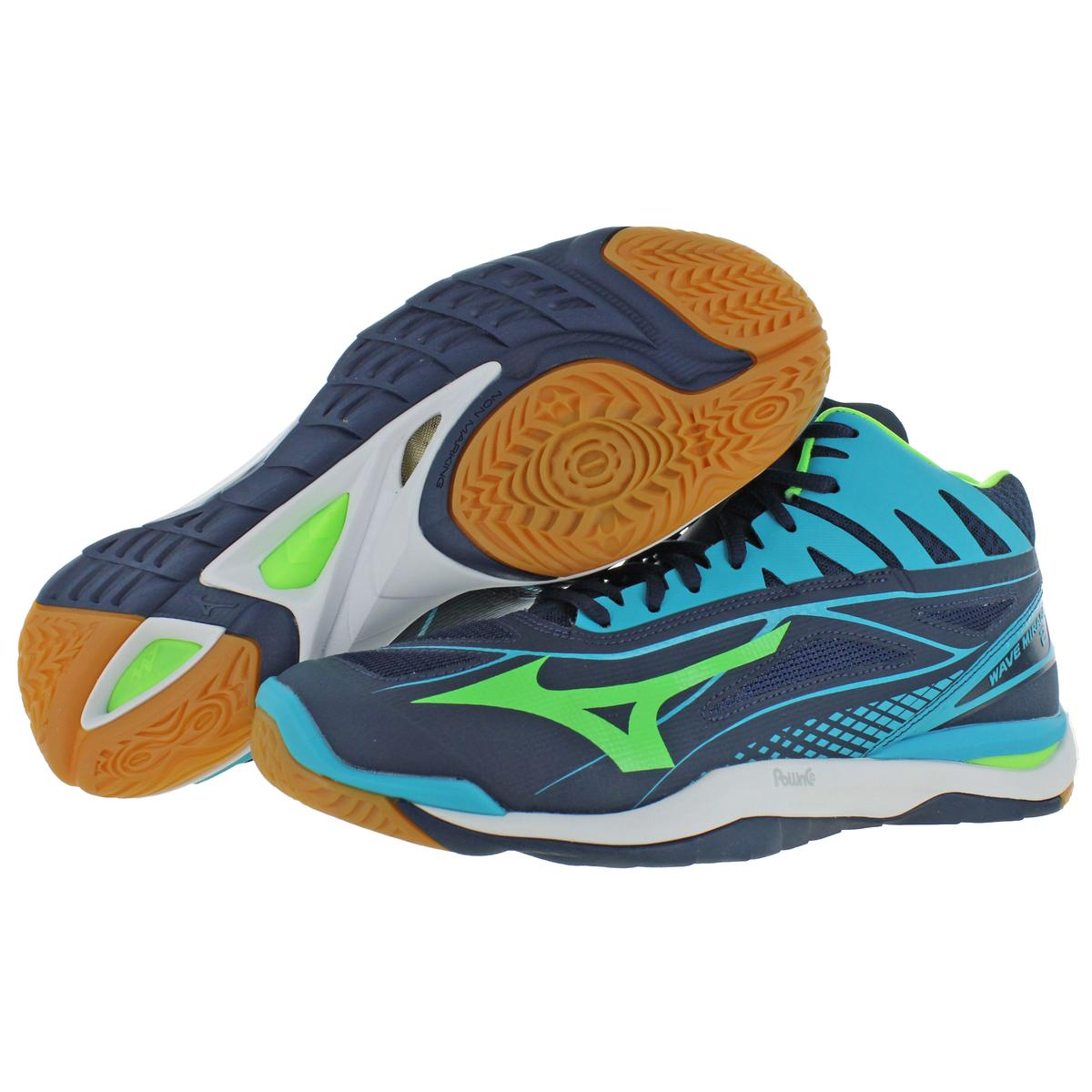 Mizuno-Mens-Wave-Mirage-2-Mid-Lace-Up-Mid-Top-Handball-Sneakers-Shoes-BHFO-9977 thumbnail 9
