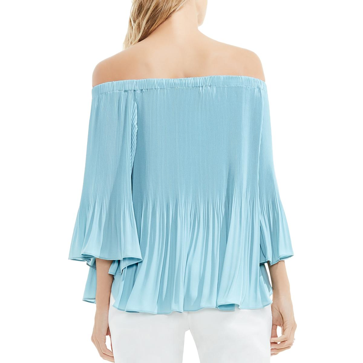 ab00a503aab7ed Vince Camuto Womens Crepe Pleated Off-The-Shoulder Blouse Top BHFO ...