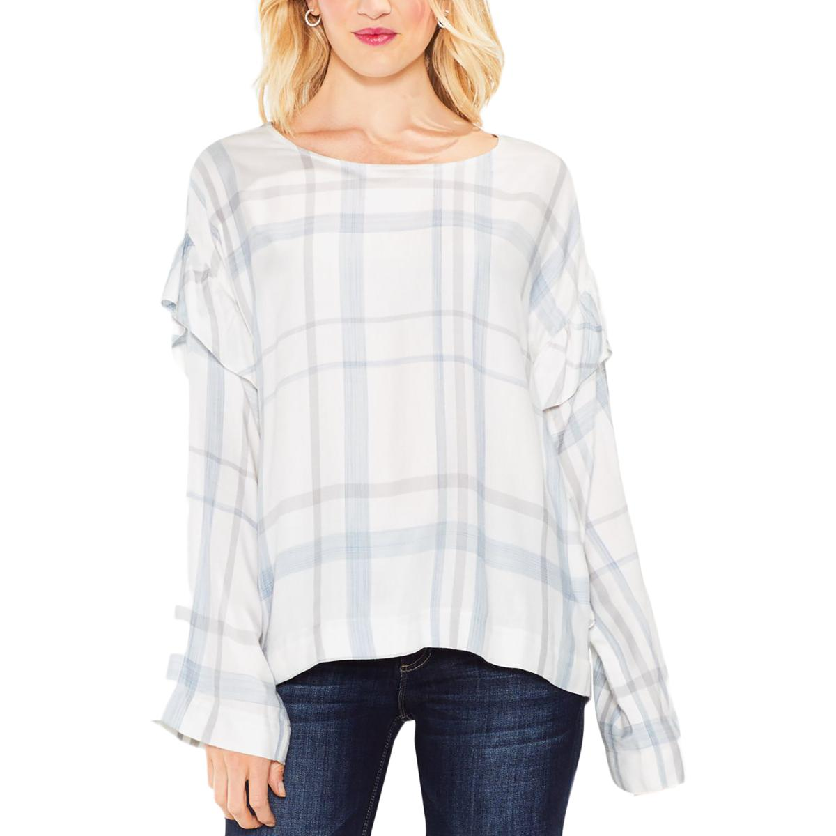 4e8a5d43403c7 Details about Two by Vince Camuto Womens Plaid Ruffle Pullover Top Shirt  BHFO 8815