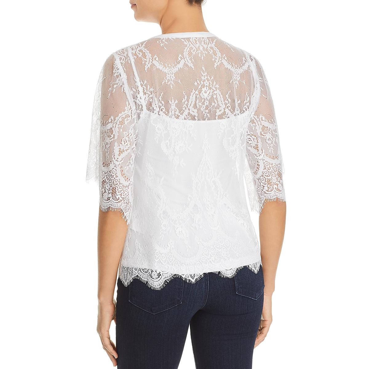 f94efe9a990c8 Le Gali Womens Trista White Lace Fringe Elbow Sleeves Blouse Top L ...