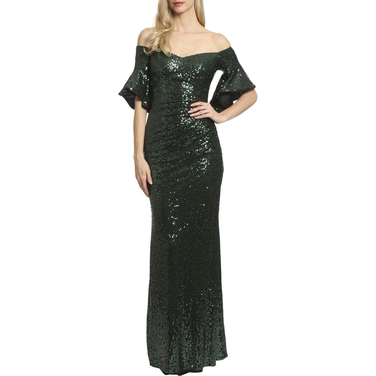 Badgley Mischka Womens Sequin Floor-length Gown Dark Emerald 16 ...