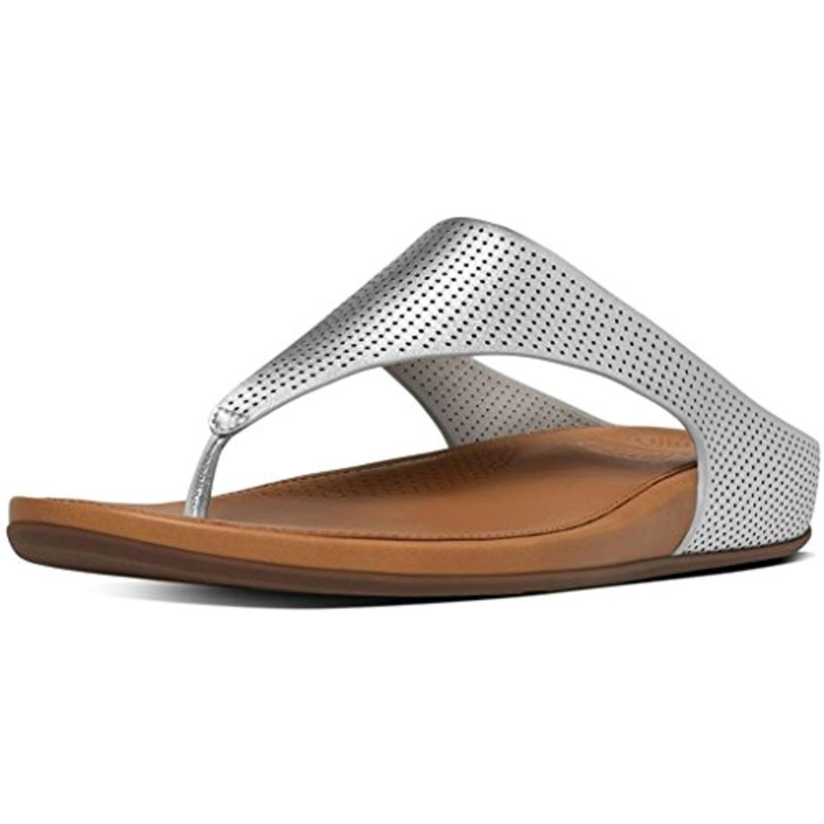 be3a8fec3 Details about Fitflop Womens Banda Silver Thong Sandals Shoes 8-9 Medium  (B