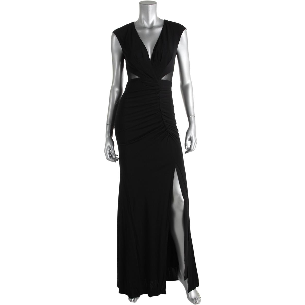 ABS by Allen Schwartz Womens Matte Jersey Ruched Evening Dress Gown ...
