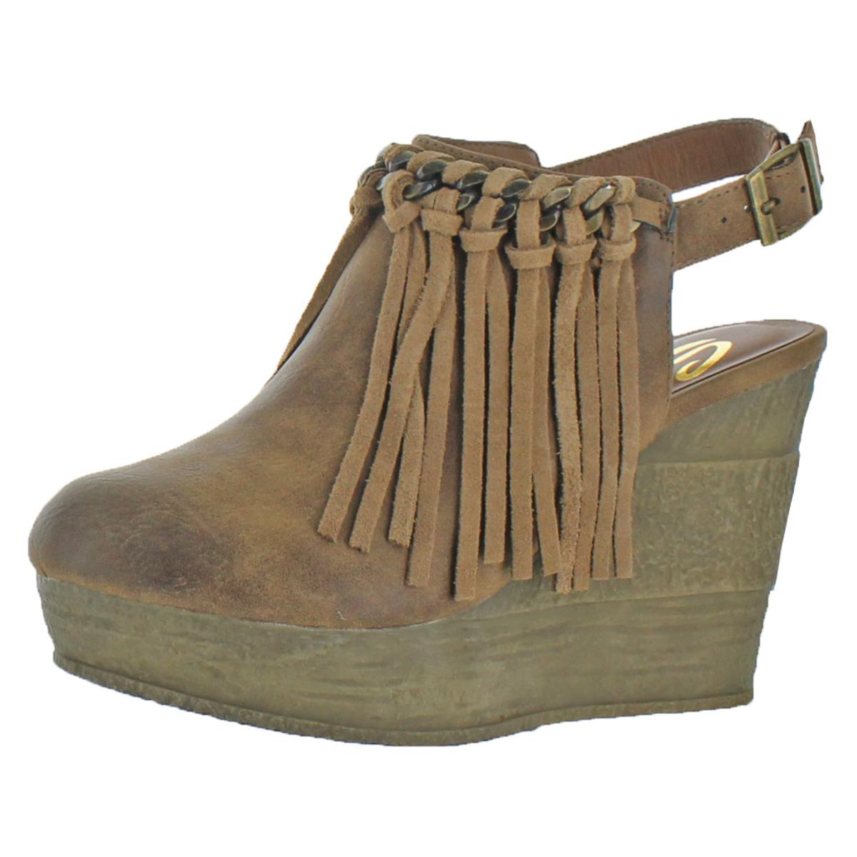 44285ced0e5 Sbicca Womens Allegretto Tan Fringe Wedge BOOTIES Shoes 7 Medium (b ...