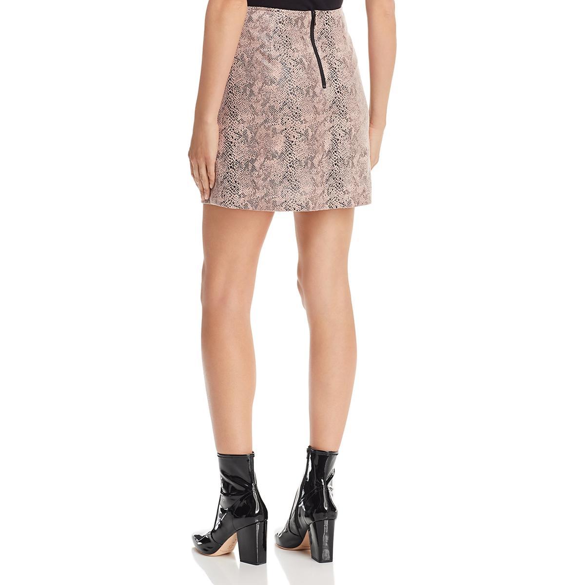 M.N.I Los Angeles Womens Pink Faux Suede Snake Print Mini Skirt XS BHFO 4194