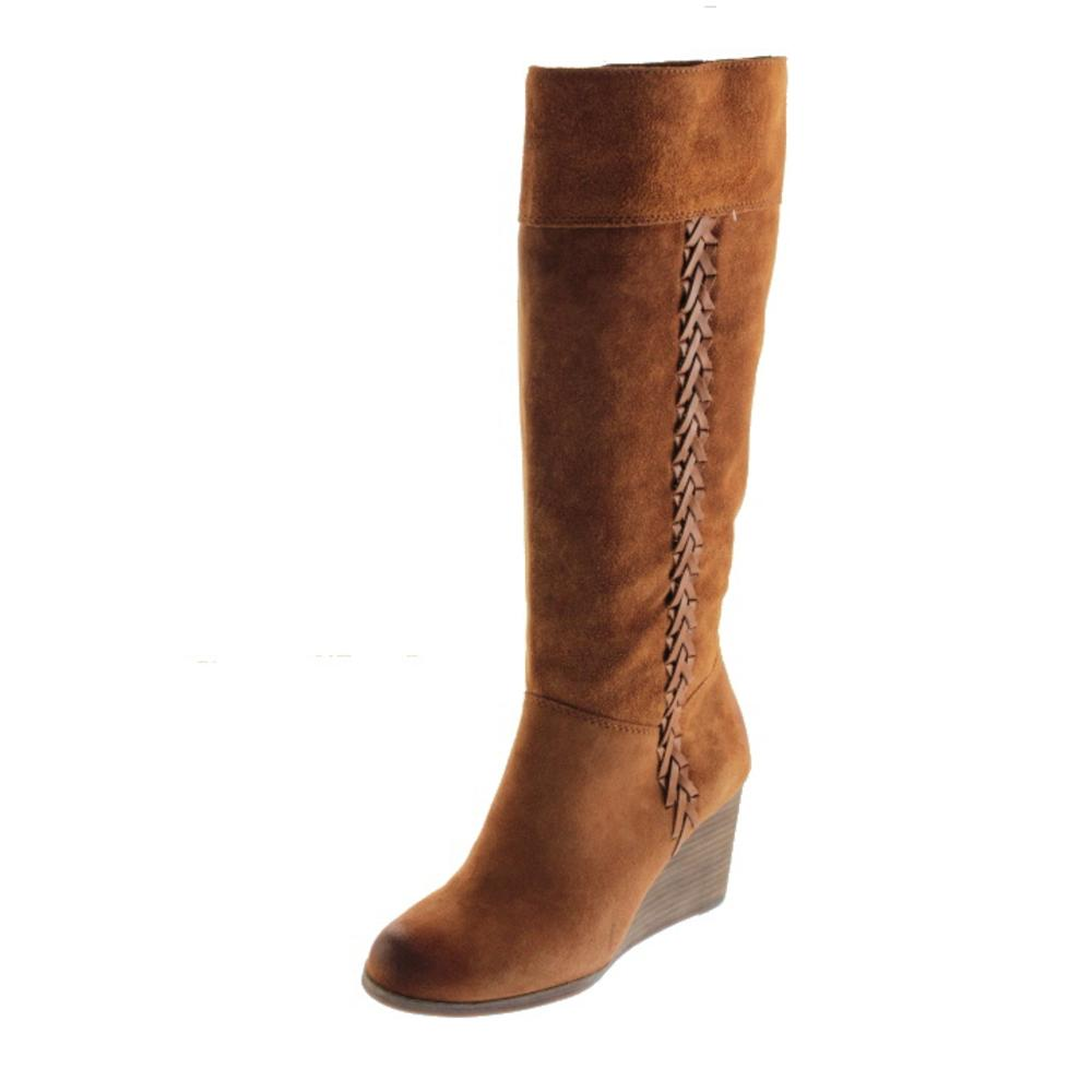 lucky brand new sanna brown suede braided wedge boots