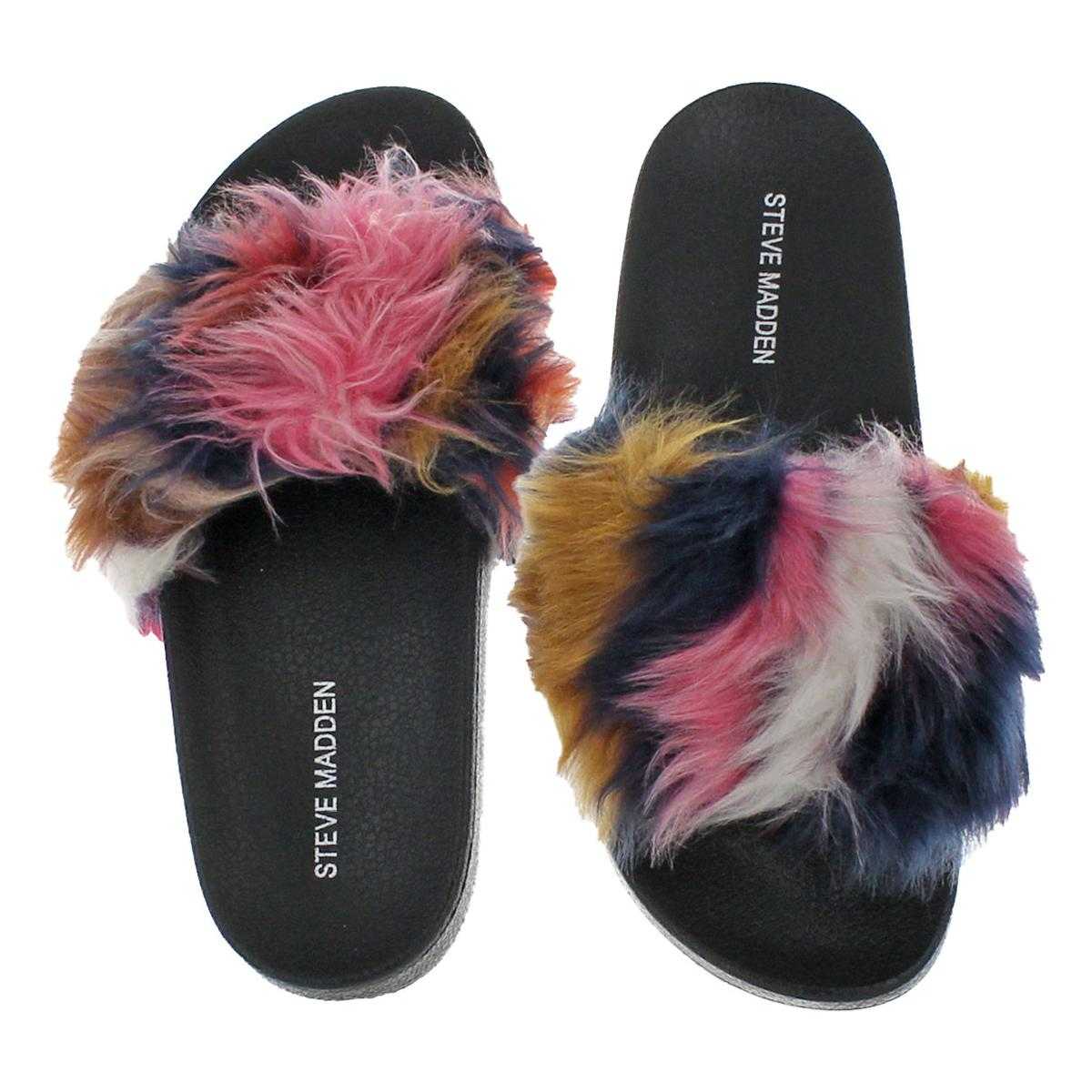 Steve-Madden-Softey-Women-039-s-Faux-Fur-Casual-Spa-Pool-Slide-Sandals-Shoes thumbnail 9