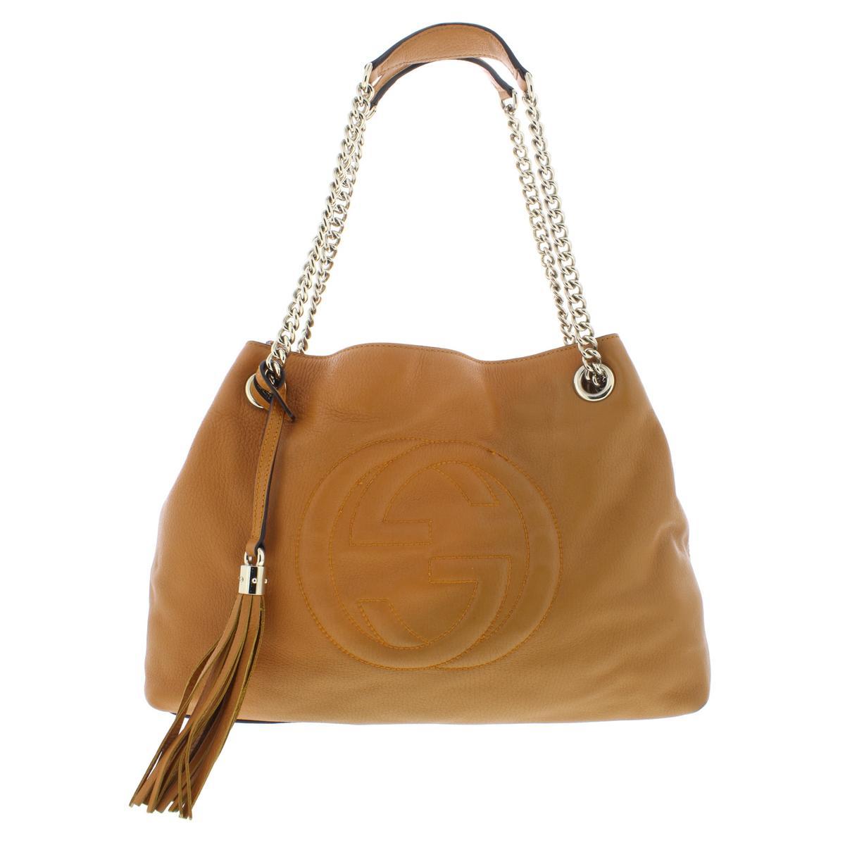 f75b15c35 Details about Gucci Womens Soho Tan Leather Tote Shoulder Handbag Purse  Large BHFO 5969