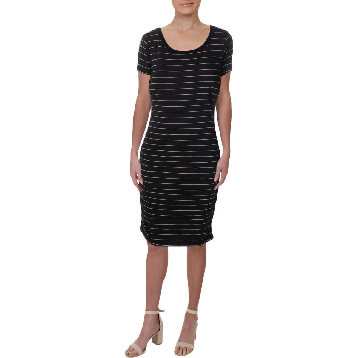 279b7d7475ac0 Sundry Womens Black Cap Sleeves Knee-Length T-Shirt Dress Juniors 3 ...