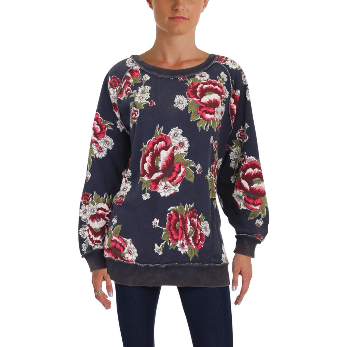 e551b0a39a7 Free People Womens Floral Raglan Casual Sweatshirt Top BHFO 7904 | eBay