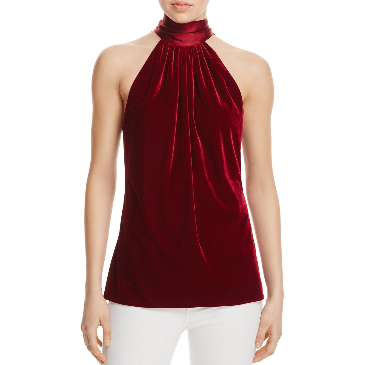 c471d555476a3b Details about Ramy Brook Womens Paige Red Velvet Halter Sleeveless Blouse  Top M BHFO 3516