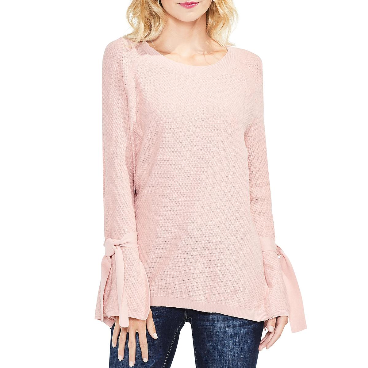266f55c6827 Details about Two by Vince Camuto Womens Knit Tie Sleeves Pullover Sweater  Top BHFO 8125
