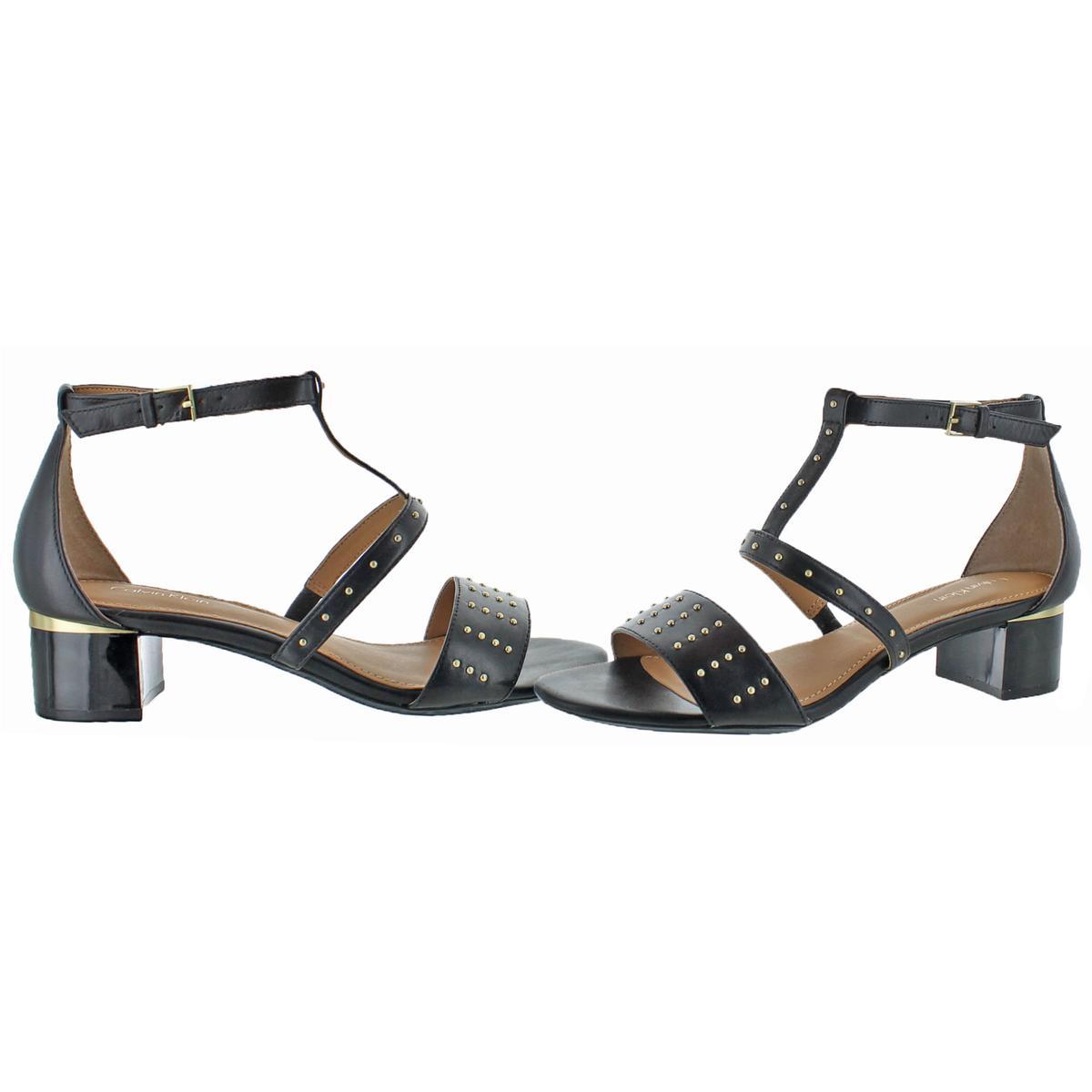 Calvin-Klein-Divina-Women-039-s-Open-Toe-Studded-Block-Heel-Shoes thumbnail 3