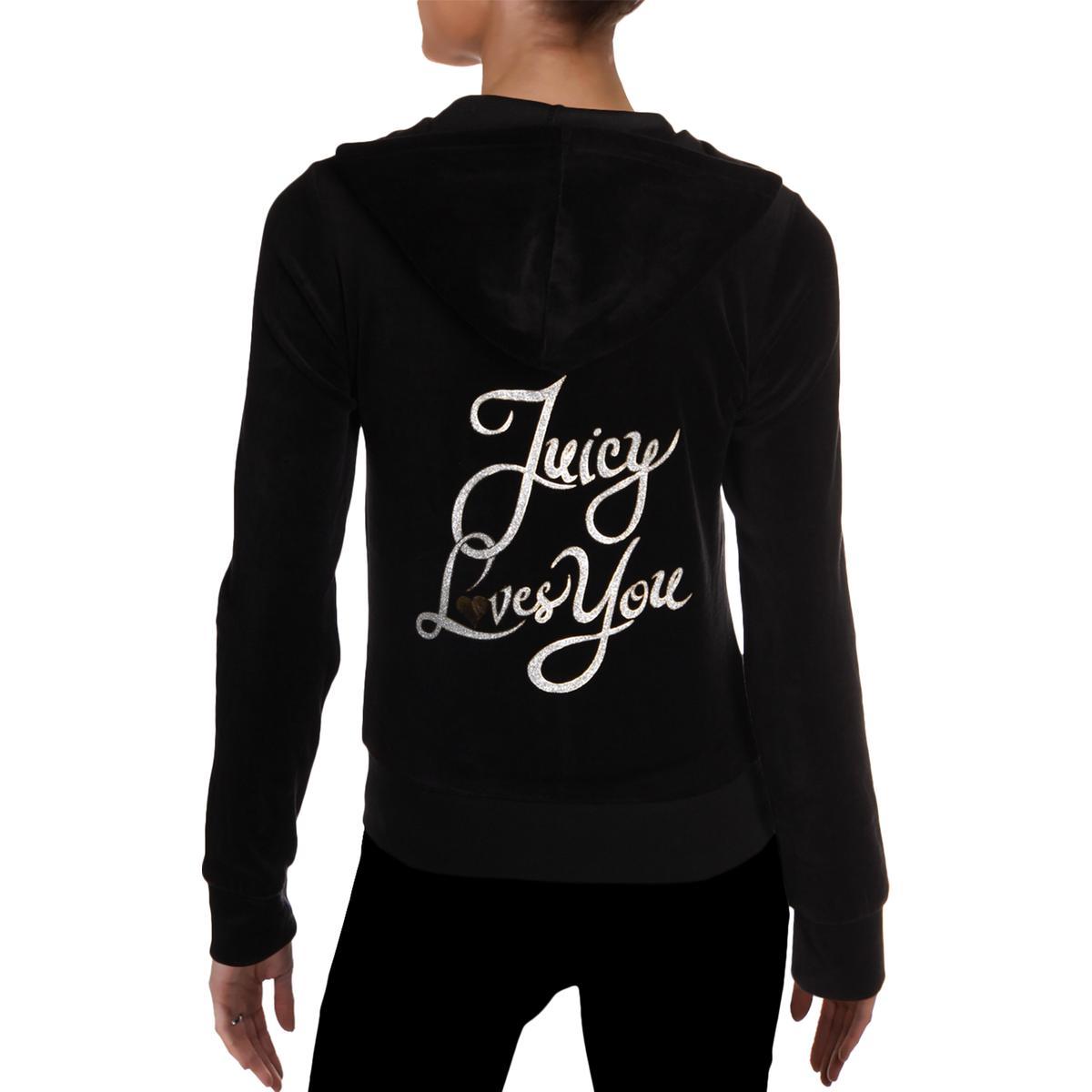 Juicy-Couture-Black-Label-Womens-Love-Robertson-Velour-Track-Jacket-BHFO-5236 miniatuur 4