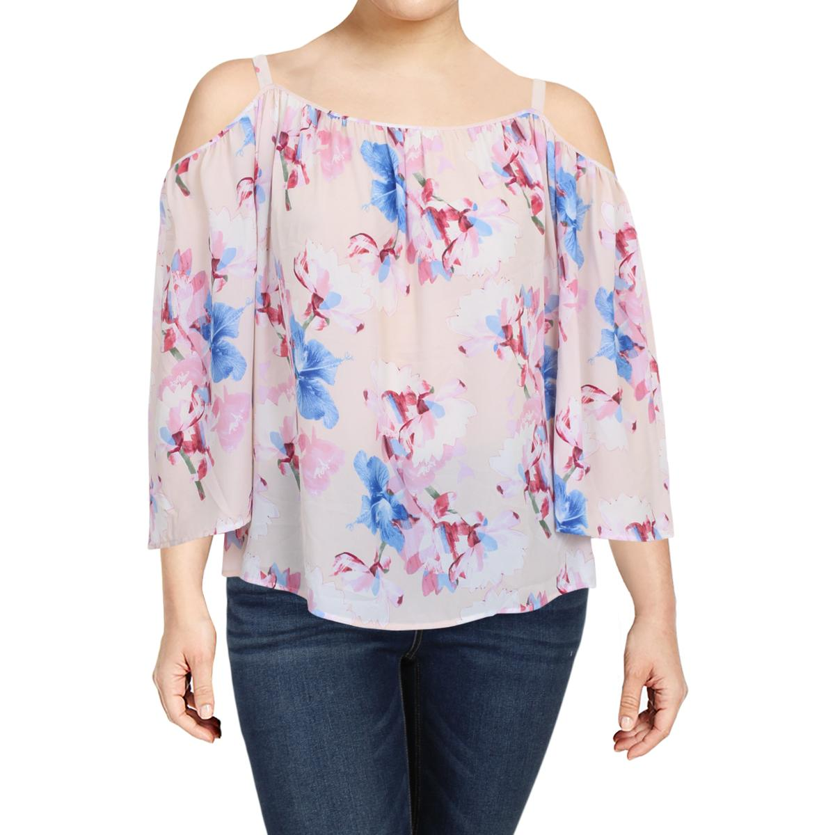 b15b9410e0326 Details about Vince Camuto Womens Pink Cold Shoulder Printed Blouse Top Plus  3X BHFO 7487