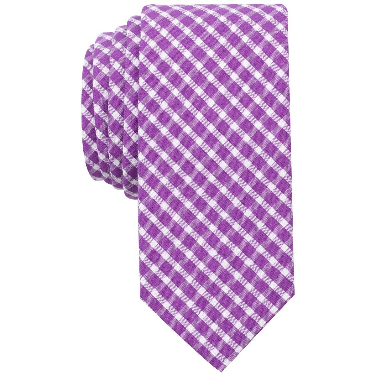57f6caad89 Details about Bar III Mens Mulberry Purple Gingham Check Print Skinny Neck  Tie O S BHFO 3254